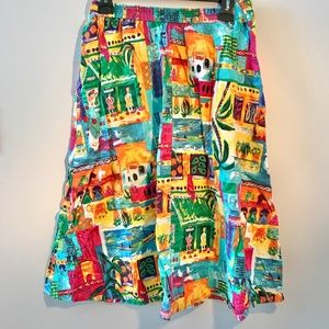 Vintage printed cotton midi skirt